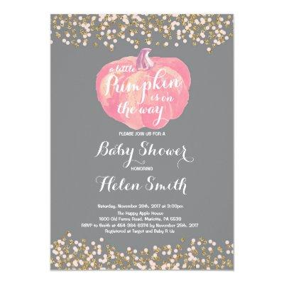 Pumpkin Pink Gold Girl Baby Shower Invitation