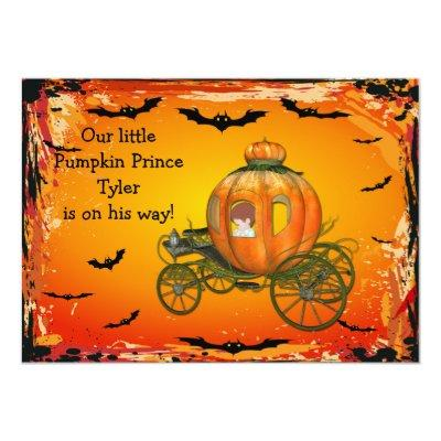 Pumpkin Prince Halloween Boy Baby Shower Invitation