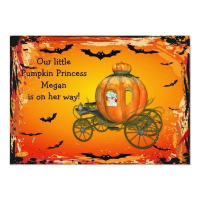 Pumpkin Princess Halloween Girl Baby Shower Invitation