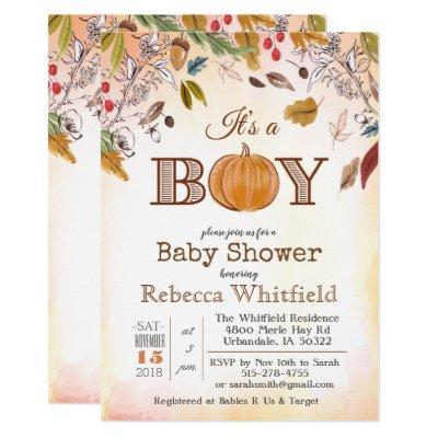Pumpkin Rustic Leaves Wood Baby Shower Invitations