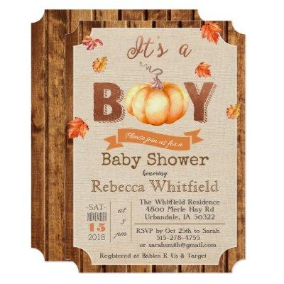 Pumpkin Rustic Leaves Wood Baby Shower Invitation
