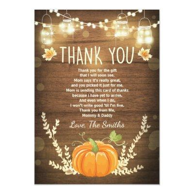 Pumpkin thank you Invitations Rustic Fall Baby shower