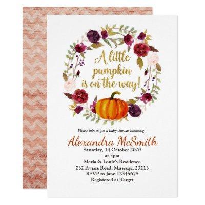 Pumpkin wreath baby shower Invitations