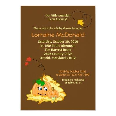 Pumpkins Fall Autumn Baby Shower Invitation