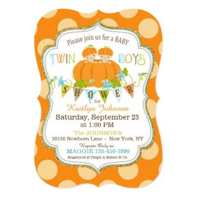 Pumpkins Twin Boys Fall Baby Shower Invitations