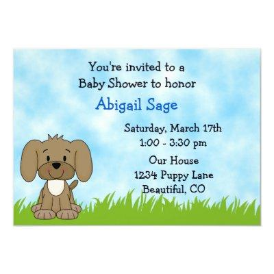 Puppy Baby Shower Invitations for Boys