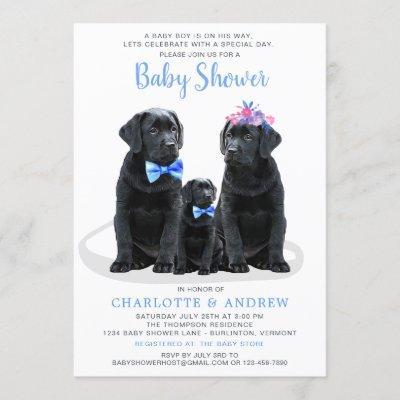 Puppy Couples Blue Boy Baby Shower Invitation