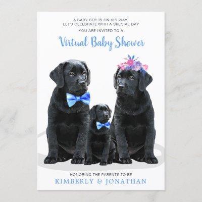 Puppy Couples Blue Boy Virtual Baby Shower Invitation