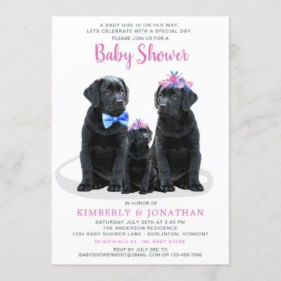 Puppy Couples Pink Girl Baby Shower Invitation