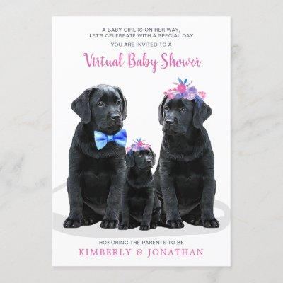 Puppy Couples Pink Girl Virtual Baby Shower Invitation