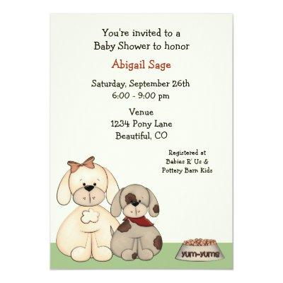 Puppy Dog Baby Shower Invitation for Boys
