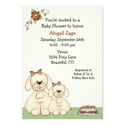 Puppy Dog Baby Shower Invitations for Girls