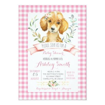Puppy dog baby shower invitation pink girl