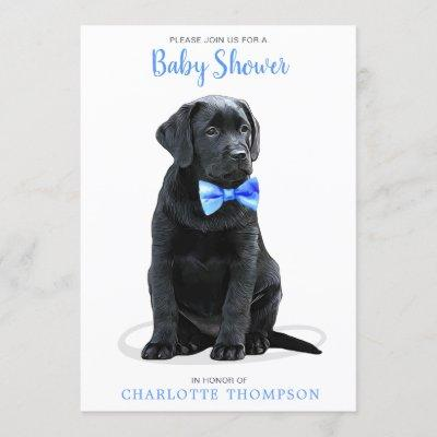Puppy Dog Blue Boy Baby Shower Invitation