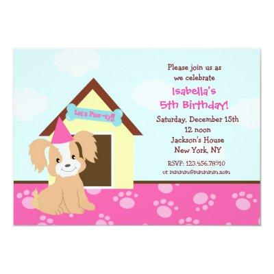 Puppy Dog Custom Birthda Party Invitations girls