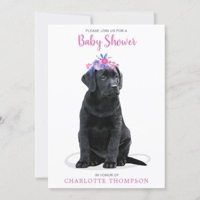 Puppy Dog Pink Girl Baby Shower Invitation