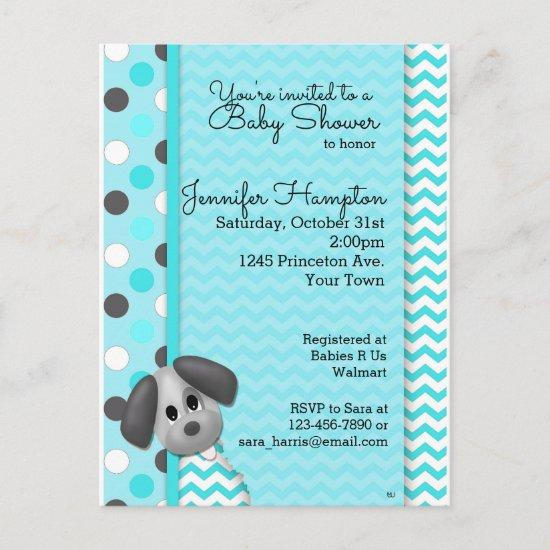 Puppy Dog Turquoise Baby Shower Postcard Invitatio