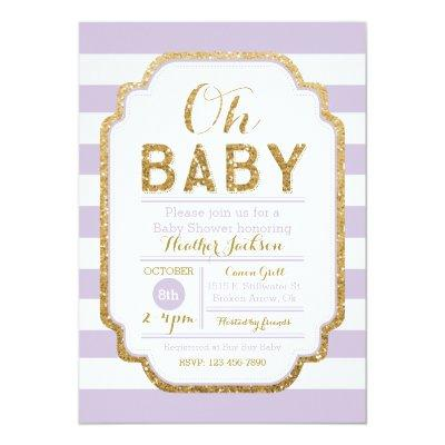 Purple And Gold Baby Shower Invitations, Baby Girl Invitations