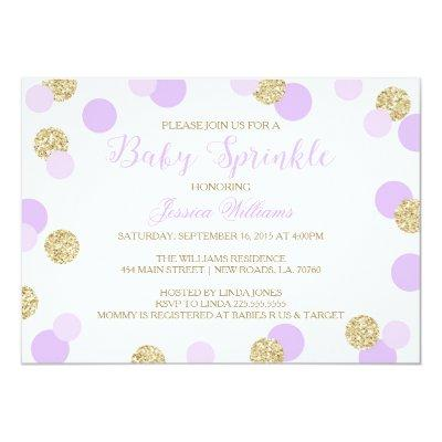 Purple and Gold Glitter Baby Sprinkle Invitations