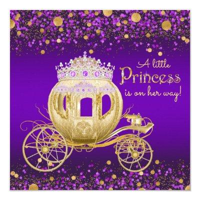 Purple and Gold Princess Carriage Invitations