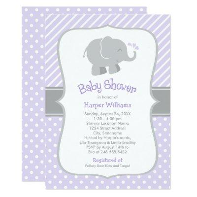 Purple and Gray Elephant   Modern Baby Girl Shower Invitation