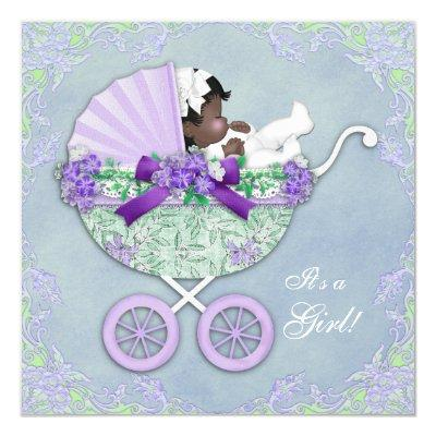 Purple and Green Ethnic Baby Shower Invitations