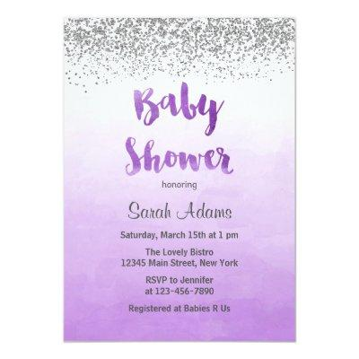 Purple and silver baby shower baby shower invitations baby shower purple and silver baby shower invitation filmwisefo