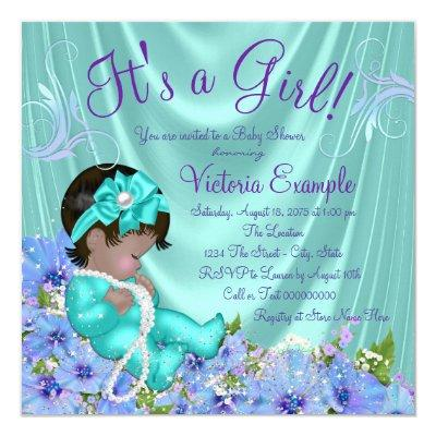 Purple and Teal Blue Floral Ethnic Baby Shower Invitations