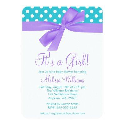 Purple and Teal Bow Polka Dot Baby Shower Invitations