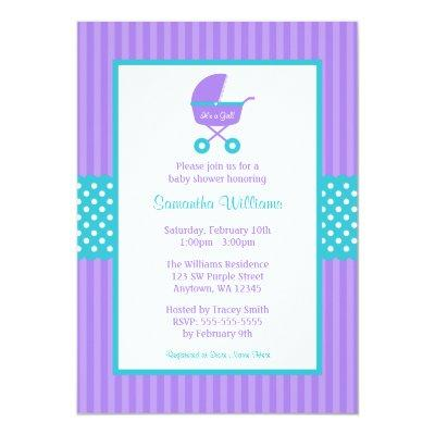 Purple and Teal Carriage Striped Dots Baby Shower Invitation