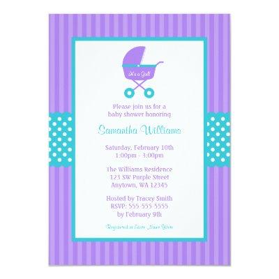Purple and Teal Carriage Striped Dots Baby Shower Invitations
