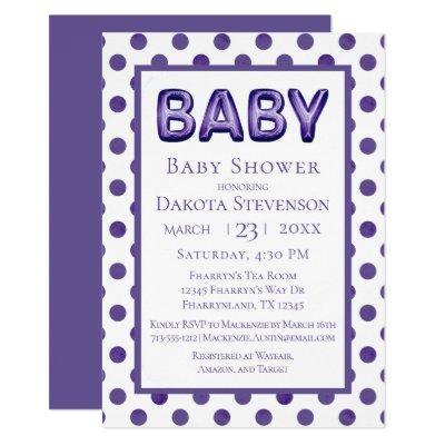Purple Baby Shower | Cute Violet Polka Dot Balloon Invitations