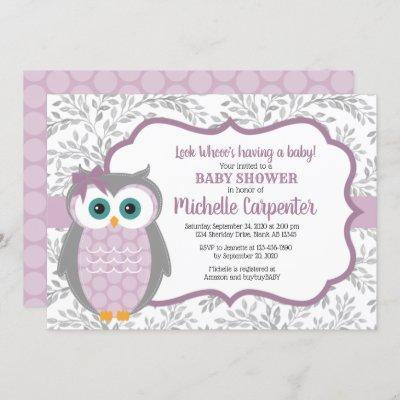 purple baby shower invitation girl woodland owl