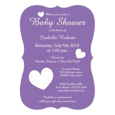 purple invitations with cute hearts