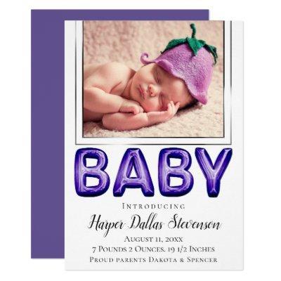 Purple Balloon Baby | Violet Photo Announcement
