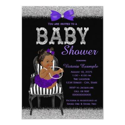Purple Black and Silver Ethnic Girl Baby Shower Invitation
