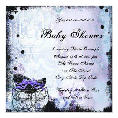 Purple Black Carriage Baby Shower Invitation