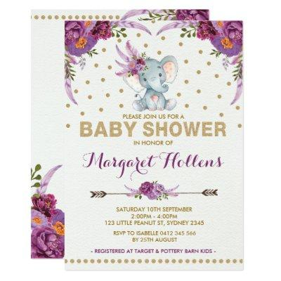 Purple Boho Floral Elephant Baby Shower Invite