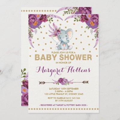 Purple Boho Floral Elephant Baby Shower Invite