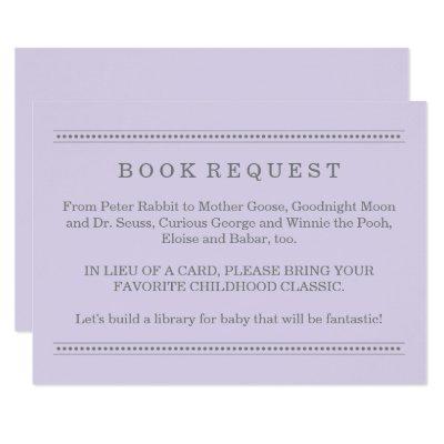 Purple Book Request | Baby Shower Enclosure Invitations