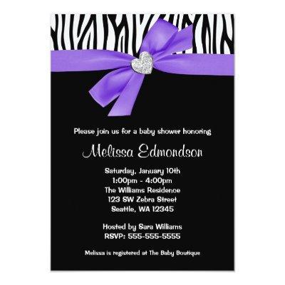 Purple Bow Diamond Heart Zebra Baby Shower Invitation