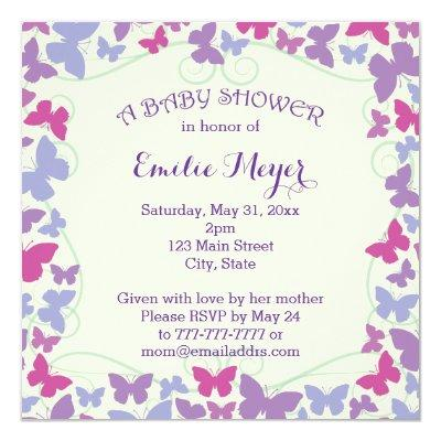 Purple Butterflies Baby Shower Invitations