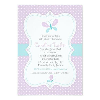 Purple Butterfly Baby Girl Shower Invitation