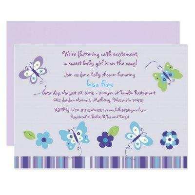 Purple Butterfly Garden Invitations