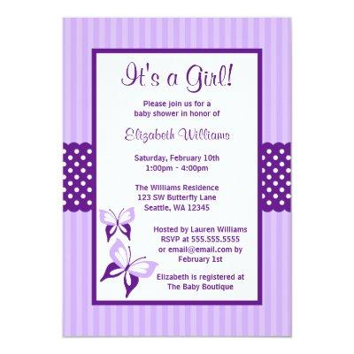Purple Butterfly Stripes and Dots Baby Shower Invitations