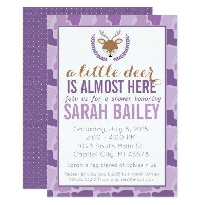 Purple Camo Little Deer Baby Shower Invite