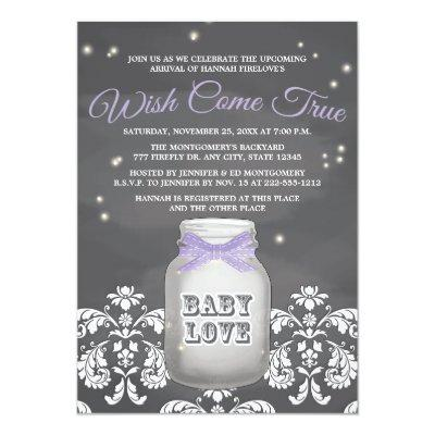 Purple Chalkboard Firefly Mason Jar Invitations
