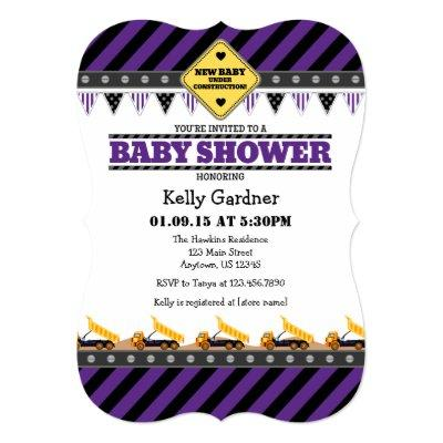 Purple Construction Baby Shower Invitation