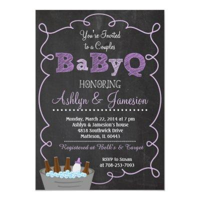 Purple Couples BabyQ BBQ Baby Shower Invitation