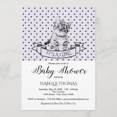 Purple Cute Kitten Baby Shower Invitation